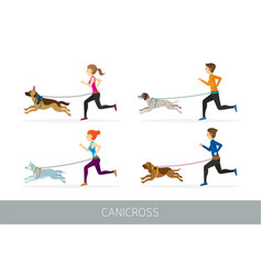 canicross people running with dogs vector image