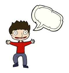 Cartoon grinning boy with speech bubble vector