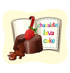 Chocolate lava cake and a book vector