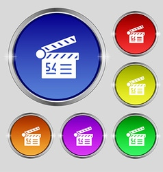 Cinema movie icon sign Round symbol on bright vector