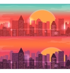 City Skylines urban landscape Sunrise and sunset vector image