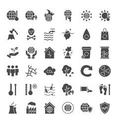 Climate change solid web icons vector