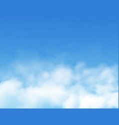 Clouds or fog on blue sky background realistic vector