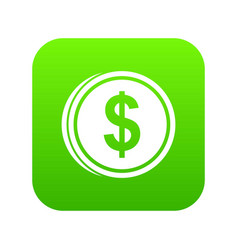 coin dollar icon digital green vector image