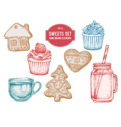Collection of hand drawn pastel gingerbread vector