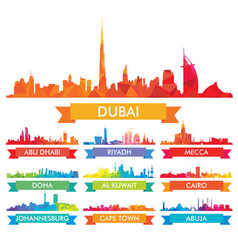 Colorful ity skyline the arabian peninsula and vector