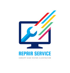 computer repair service business logo vector image