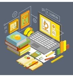 Concept for Online Education Flat 3d vector