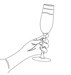 continuous line hand holding champagne glass vector image