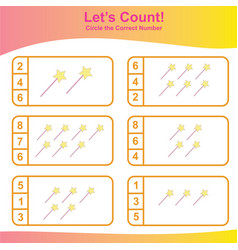 Count and match magical stick game for kids vector