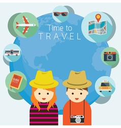 Couple Tourist with Traveling Icons Worldwide vector