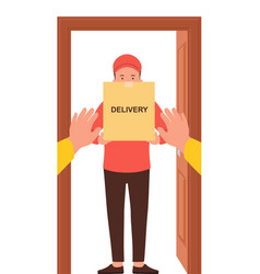 courier with a box in his hands free delivery of vector image