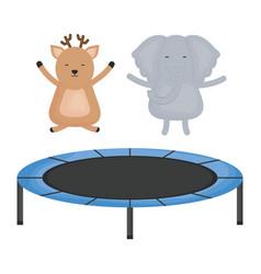 cute elephant and reindeer in elastic trampoline vector image