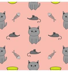 Cute gray cartoon cat Bowl fish bone mouse toy vector