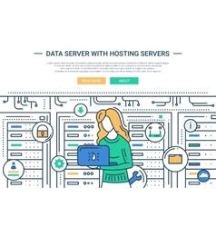 Data Server and Hosting - line design website vector