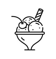 dessert icecream line icon concept sign outline vector image