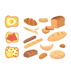different breads and bakery products vector image