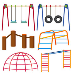 Different types of swing and monkeybars vector