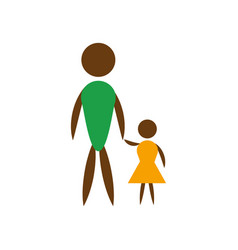 Father and daughter icon vector