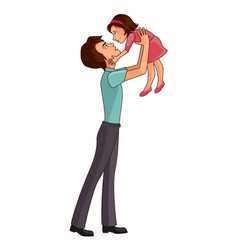 father throwing up his daughter vector image