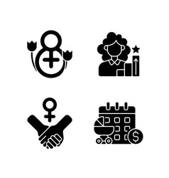 feminism black glyph icons set on white space vector image