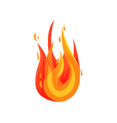 flat icon of hot flame bright red-orange vector image