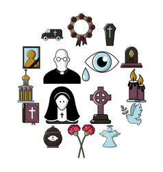funeral ritual service icons set cartoon style vector image