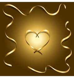 Gold silk heart with frame ribbons shiny vector image