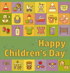 happy childrens day toys clothes and kids vector image
