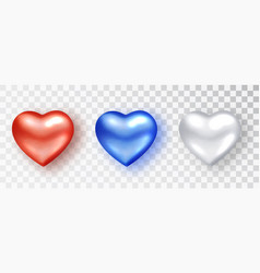 hearts realistic set red white blue hearts vector image