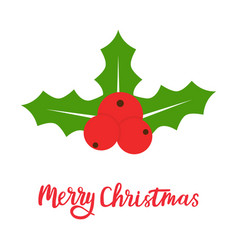holly berry icon merry christmas symbol xmas vector image