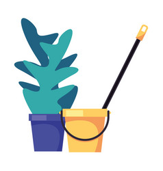 Housekepping bucket tool with mop and houseplant vector