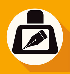 icon pen on white circle with a long shadow vector image