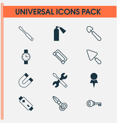 Instrument icons set collection of putty vector