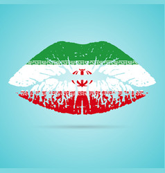 Iran flag lipstick on the lips isolated on a white vector