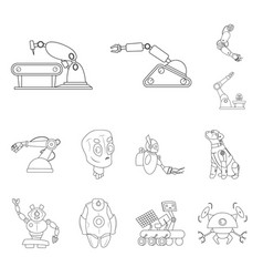 isolated object of robot and factory logo vector image