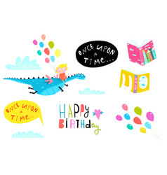 Kid girl with dragon and balloons birthday graphic vector