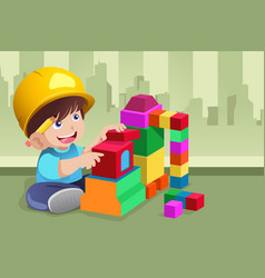 Kid playing with his toys vector