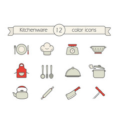 Kitchen tools color icons set vector