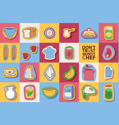 Kitchen utensils and cooking scrapbook stickers vector