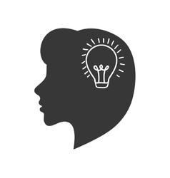 Light bulb head big idea creative icon vector