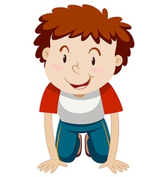 Little boy with curly hair kneeling down vector image