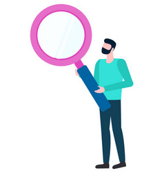 male with magnifier analyzing and investigating vector image