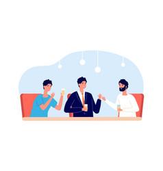 men drinks together male friends sitting at desk vector image