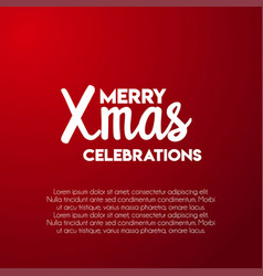 merry xmas celebrations red background vector image