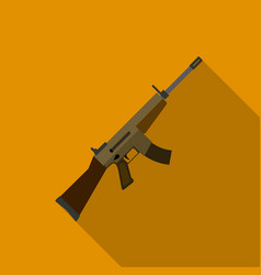 military assault rifle icon in flat style isolated vector image