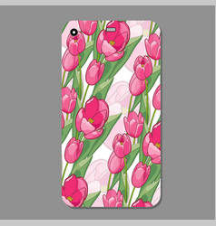 modern phone cover case with tulip seamless vector image