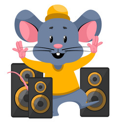 Mouse with speakers on white background vector