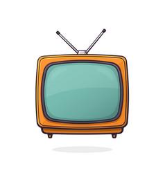 orange analogue retro tv with antenna vector image