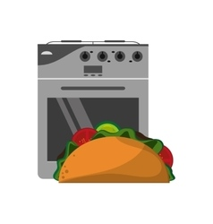 Oven and taco icon vector